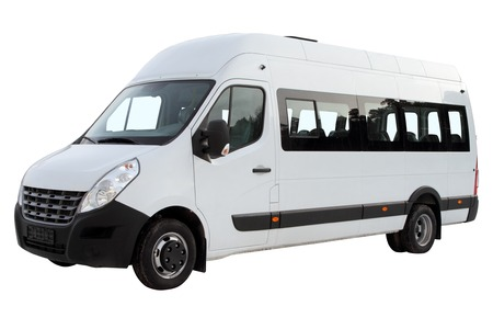 Compact minibus isolated on white background.