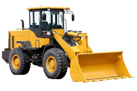 front loader: delantero del tractor cargador aislado en un fondo blanco.