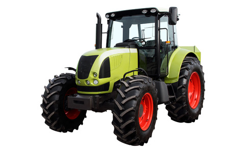 agronomics: Modern heavy tractor isolated on a white background. Stock Photo