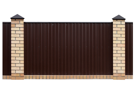 private parts: Fence with brick columns isolated on a white background.