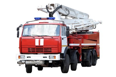 car hoist: Red fire truck isolated on white background.