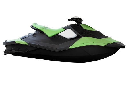 moto acuatica: Moderno jet ski verde aislado en el fondo blanco.