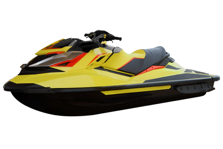 Contemporary yellow jet ski isolated on white background. Stock Photo