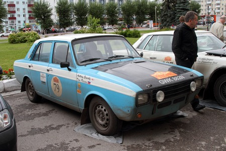 next stage: PERM, RUSSIA - JUNE 29, 2016: Rally of retro-cars Peking-Paris 2016 , June 29, 2016 in Perm, Russia. Cars are in the city after the next stage. Editorial