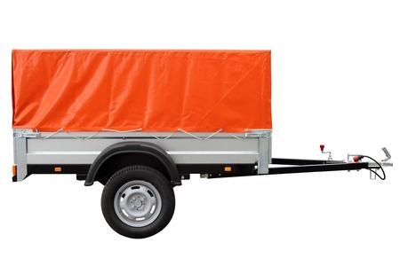white car: Orange car trailer, isolated on white background.