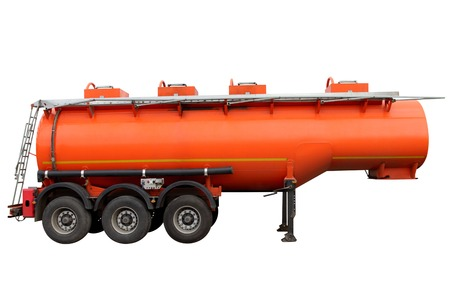 Tank for transportation of fuel isolated on a white background.