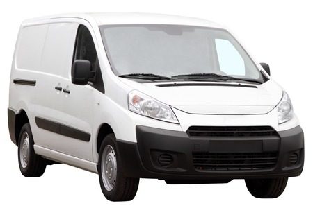 Small compact minivan isolated on a white background.