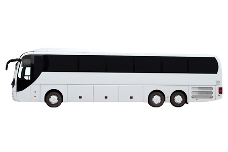 roomy: Modern three-axle bus isolated on white background.