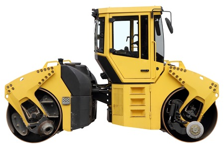 road roller: Yellow road roller isolated on a white background.