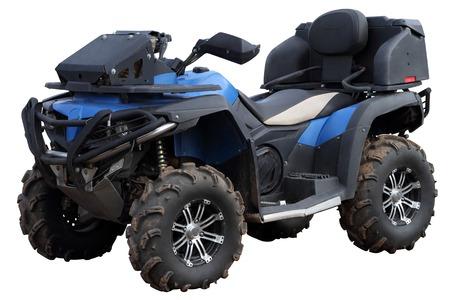 quad: Blue Quad bike isolated on a white background.
