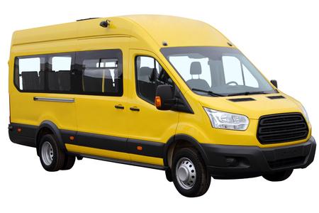Yellow minibus isolated on white background.