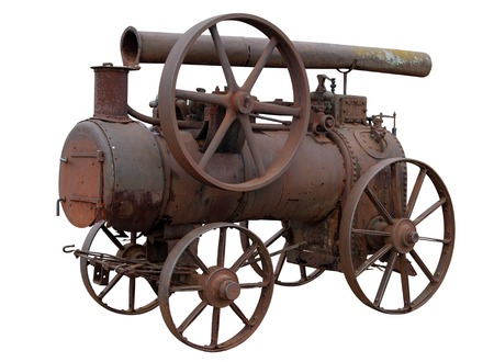 rarity: Mobile steam engine isolated on white background. Stock Photo