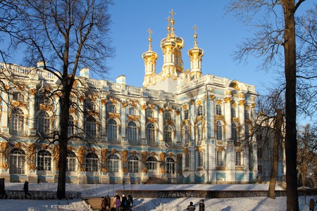 city pushkin: TSARSKOYE SELO (PUSHKIN), RUSSIA - JANUARY 04, 2017:Catherine Palace, Catherine Park in Tsarskoye Selo (Pushkin), suburb of Saint Petersburg