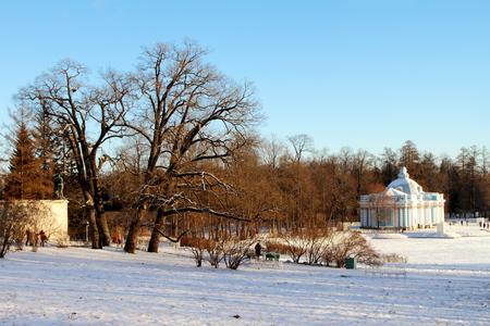tsarskoye: TSARSKOYE SELO (PUSHKIN), RUSSIA - JANUARY 04, 2017: Catherine Park in Pushkin, suburb of Saint Petersburg
