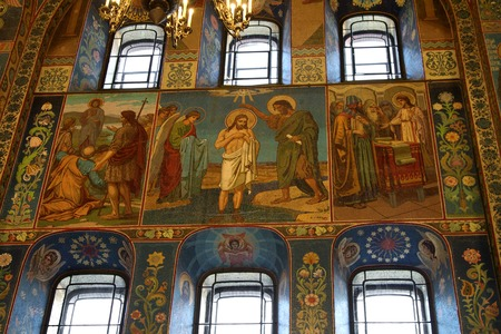 iconography: SAINT-PETERSBURG, RUSSIA - JANUARY 05, 2017: Mosaic wall painting of the Church of the Savior on Blood in Saint-Petersburg