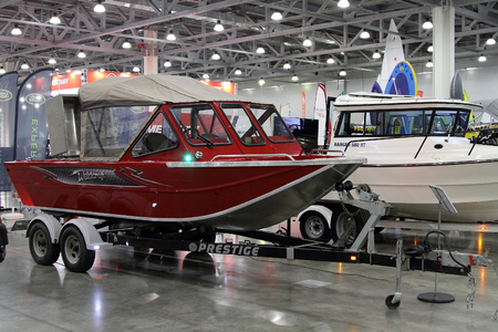 fx: MOSCOW - MARCH 09, 2017:  Boat Weldcraft  Renegade 600 FX for 10 International boat show in Moscow. Russia.