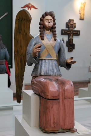 PERM, RUSSIA-MARCH 26, 2017: Wooden figure of an angel from the collection of wooden sculpture of Perm art gallery. Perm, Russia.