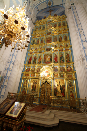 ISTRA, RUSSIA-MARCH 03, 2017: The iconostasis of the resurrection Cathedral in New Jerusalem monastery. Istra, Moscow region.