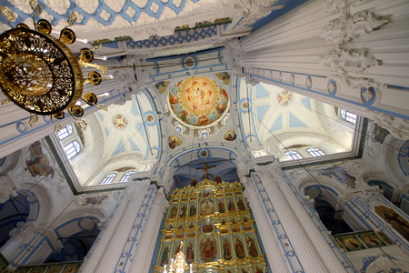 ISTRA, RUSSIA-MARCH 03, 2017: The iconostasis and dome of the resurrection Cathedral in New Jerusalem monastery. Istra, Moscow region. Editorial