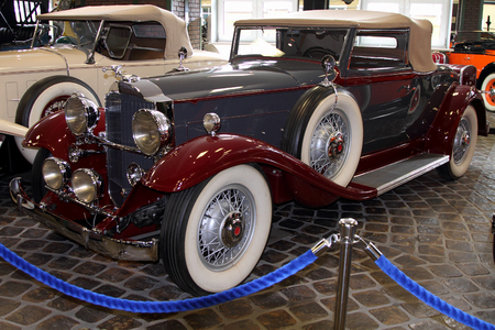 motorcar: KRASNOGORSK, RUSSIA-FEBRUARY 23, 2016: Motorcar Packard De Luxe 8 Cupe in the Museum of technology Zadorozhnogo. Krasnogorsk, Moscow region.
