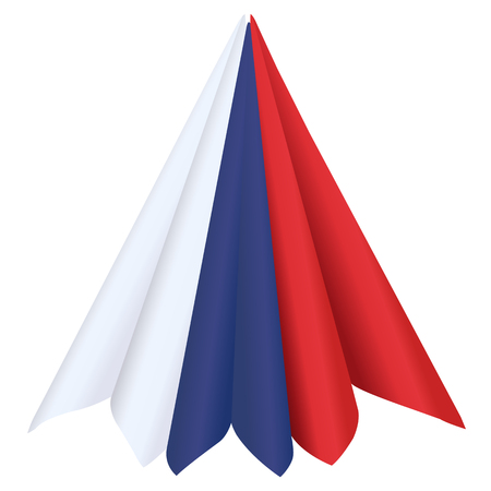 Napkins of colors of a flag of Russia isolated on a white background.