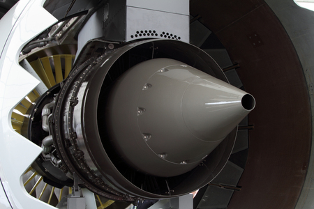 The exhaust nozzle of a modern turbofan aircraft engine.