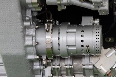 Component of a turbofan engine closeup.