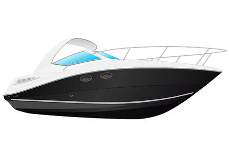 Vector illustratie van zwarte moderne boot.
