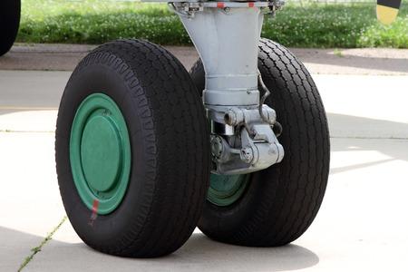 The front landing gear of a modern aircraft.