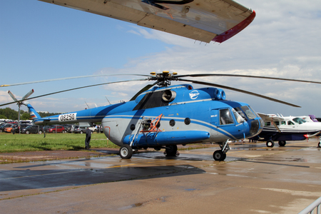 airstrip: Moscow Region - July 21, 2017: Multi-purpose Helicopter Mi-8 at the International Aviation and Space Salon (MAKS) in Zhukovsky. Editorial