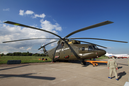 mi: Moscow Region - July 21, 2017: The worlds largest load-lifting Helicopter Mi-26 at the International Aviation and Space Salon (MAKS) in Zhukovsky.