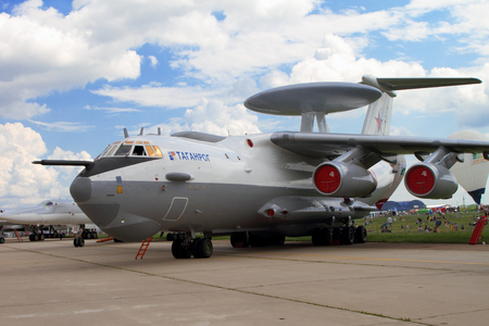 Moscow Region - July 21, 2017: Aircraft early warning and control aircraft A-50 (on the codification of NATO: Mainsta) at the International Aviation and Space Salon (MAKS) in Zhukovsky.