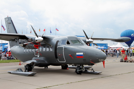 twin engine: Moscow Region - July 21, 2017: Twin-engine turboprop aircraft L-410 at the International Aviation and Space Salon (MAKS) in Zhukovsky. Editorial