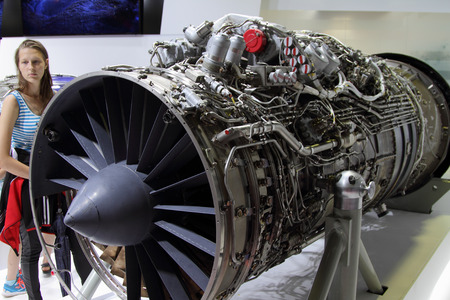 Moscow Region - July 21, 2017: Aviation high-temperature turbojet dual-circuit engine AL-41F-1S  at the International Aviation and Space Salon (MAKS) in Zhukovsky.