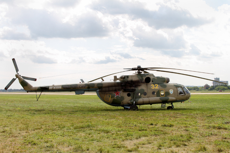 twin engine: Moscow Region - July 21, 2017: The worlds most prevalent twin-engine helicopter Mi-8 at the International Aviation and Space Salon (MAKS) in Zhukovsky. Editorial