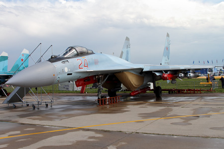 Moscow Region - July 21, 2017: Russian multipurpose superarmane fighter Su-35 (on the codification of NATO: Flanker) at the International Aviation and Space Salon (MAKS) in Zhukovsky.