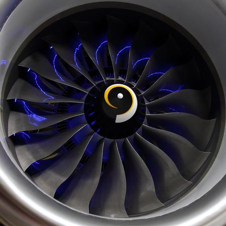 Fan blades of a modern aircraft turbofan engine.