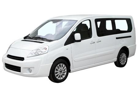Modern white minivan isolated on white background.