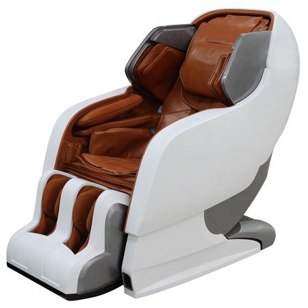 茶色のマッサージの椅子は、白い背景で隔離。