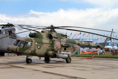Moscow Region - July 21, 2017: Helicopter Mi-8 at the International Aviation and Space Salon (MAKS) in Zhukovsky. Редакционное