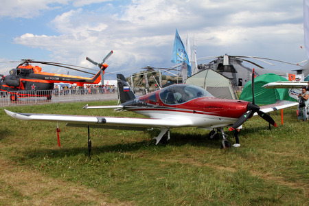 Moscow Region - July 21, 2017: Red sports aircraft of the Czech company BRM Aero Bristell at the International Aviation and Space Salon in Zhukovsky. Editorial