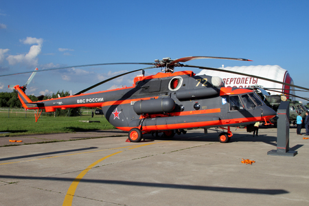 Moscow Region, Russia - July 21, 2017: Helicopter Mi-171Sh at the International Aviation and Space Salon (MAKS) in Zhukovsky.