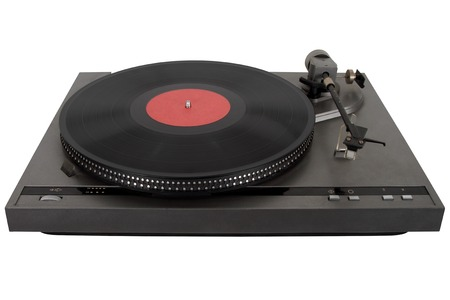 Analog turntable record player isolated on white background. Imagens