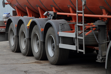 Wheels of multi-axle semi-trailer for transportation of fuel.