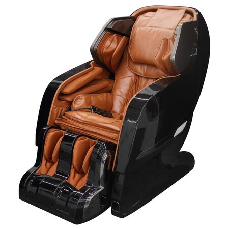 Black massage chair isolated on white background.