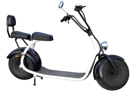A modern two- seat electric scooter is isolated on a white background.