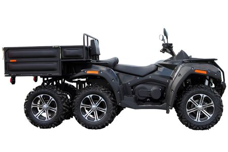 A black Quad bike with a cargo trailer is isolated on a white background.