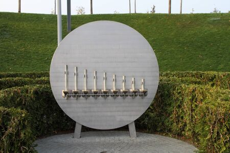 Percussive self-sounding instrument-entertainment for visitors in the city Park.