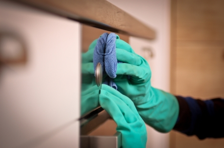 Close-up of human hands polishing the oven photo
