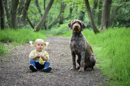 best protection: Little girl sitting with her dog in the wood on a sunny spring day. Best friends concept.Dog protection